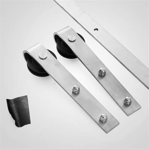 Stainless Barn Door Hardware 8ft Sliding Barn Door Track Hardware Flat Stainless Steel Kit Strictly Standard Ebay