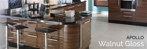 Walnut Gloss Kitchen Doors   Apollo Walnut