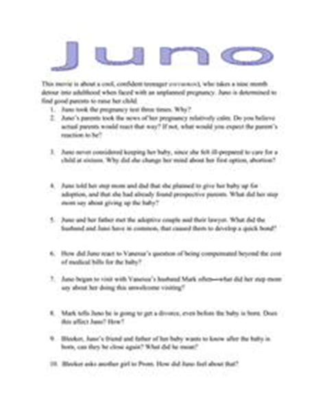 juno film quiz juno movie questions worksheet for 9th 12th grade