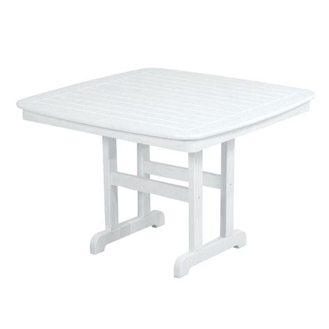 Polywood Nautical 44 In White Plastic Outdoor Patio White Plastic Dining Table