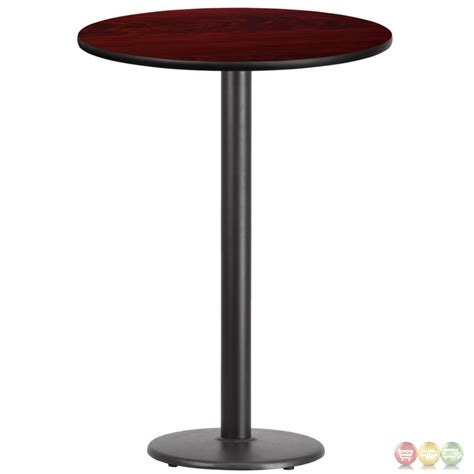 bar top height tables 30 round mahogany laminate table top with 18 round bar