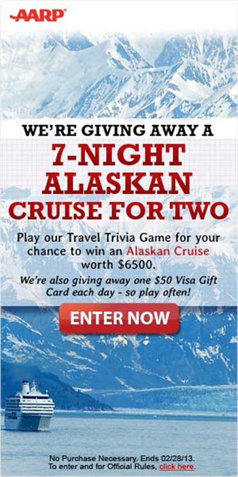 Aarp Cruise Gift Cards - aarp global getaway instant win game sweeps 45 win 25 visa gift cards win