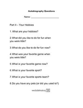 biography interview questions for students autobiography questions part 2 my hobbies by qreative