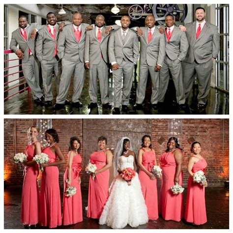 Wedding Attire Colours by Wedding Ceremony Coral And Grey Bridesmaids And