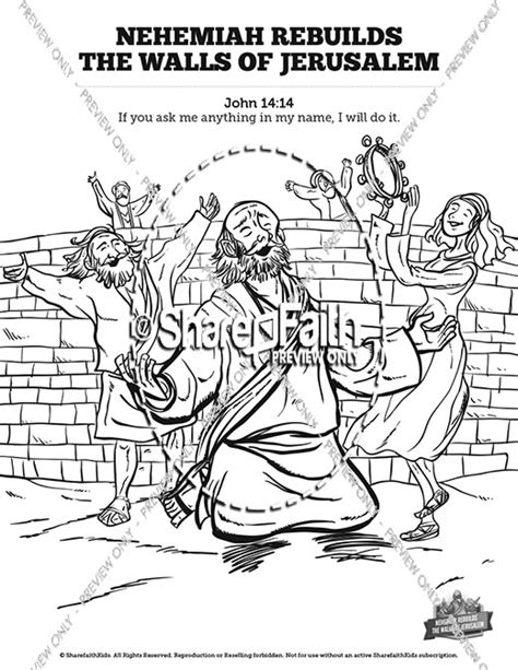 Nehemiah 8 Coloring Pages by Book Of Nehemiah Sunday School Coloring Pages