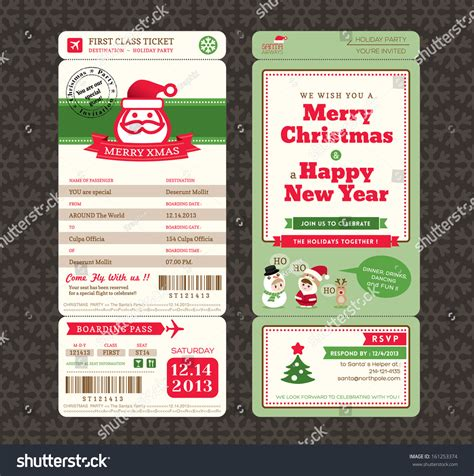 christmas card design boarding pass ticket stock vector