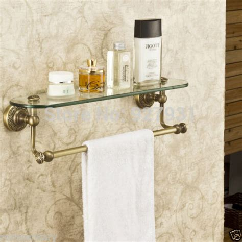 Bathroom Wall Shelves With Towel Bar New Antique Brass Bathroom Single Tier Bathroom Glass Storage Rack Wall Mount Bathroom Shelf