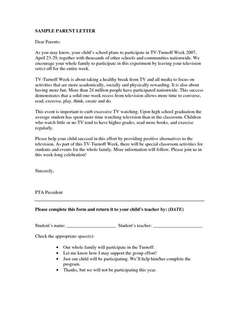 letter to parents template sle parent letters