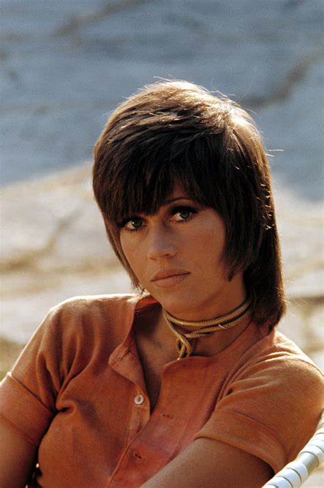 what actress in the 70s started the shag haircut jane fonda with shag in early 70s klute canvas print