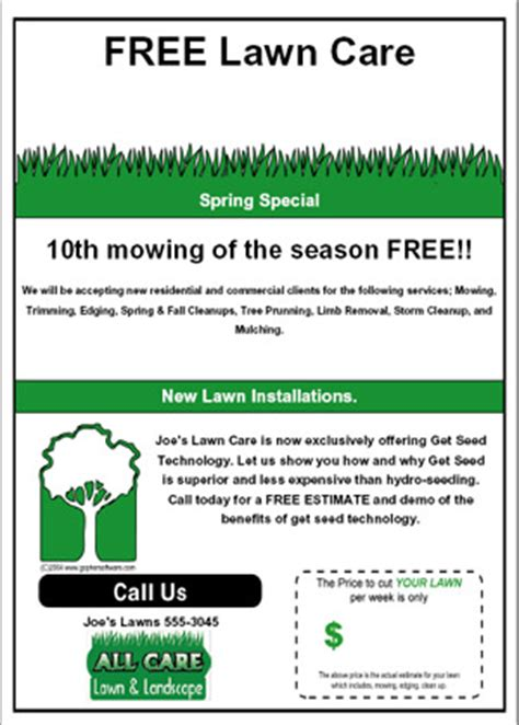 lawn card flyer template free 6 best images of brochure templates lawn care services