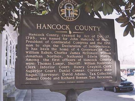 Hancock County Court Records Historical Markers By County Georgiainfo