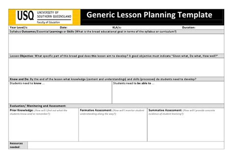 usq generic lesson planning template doc classroom stuff