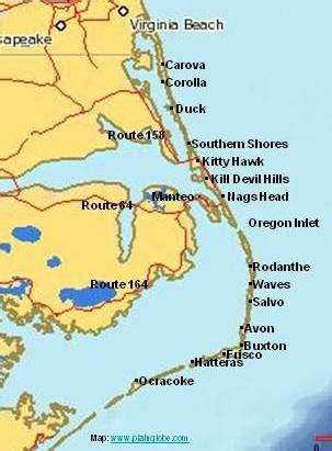 map of outer banks nc outer banks vacation guide outer banks beach vacation find your obx town