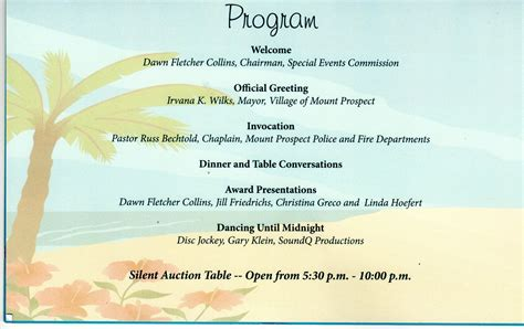 banquet program template reflections on my journey the of mount prospect