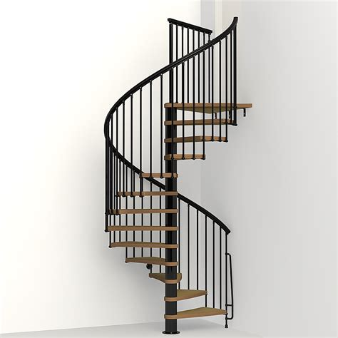 Landing Handrail Height Shop Arke Nice1 63 In X 10 Ft Black Spiral Staircase Kit