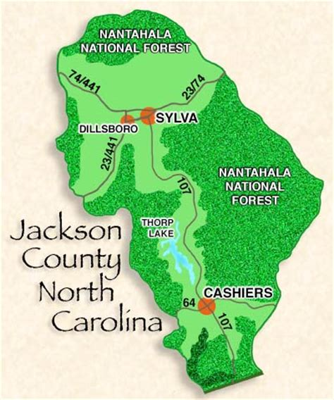 cashiers carolina map map of cashiers sylva dillsboro jackson county
