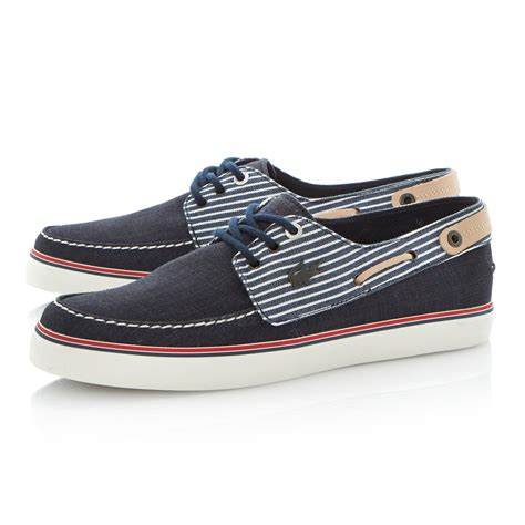 lacoste sumac 4 ap striped casual boat shoe in blue for