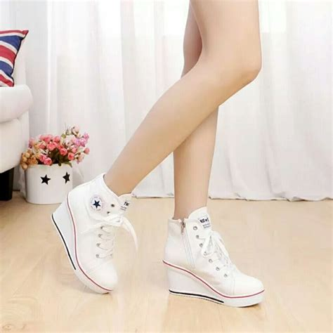 Fashion Sepatu Wedges T135 White 34 converse shoes wedge high heels sneakers