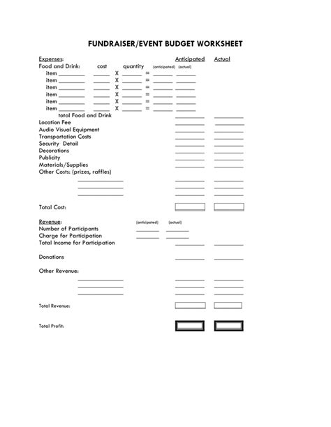 Fundraising Worksheet by Fundraiser Event Budget Worksheet In Word And Pdf Formats