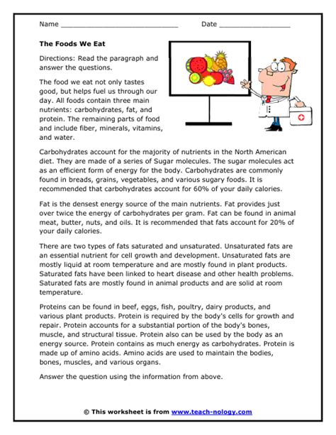 reading comprehension test about food nutrition reading comprehension worksheets besto blog