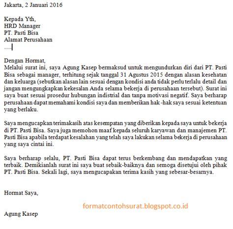 contoh surat pengunduran diri yang baik dan sopan