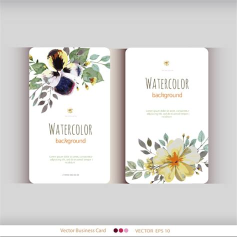 beautiful watercolor flower business card  vector    vector