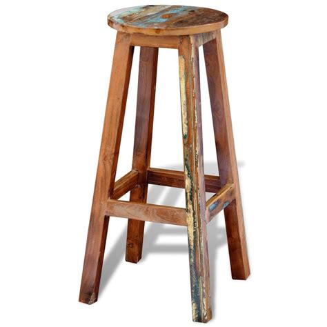 solid wood bar stools uk reclaimed solid wood high bar stool vidaxl co uk