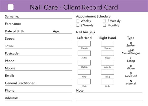 hairdressing client record card template nail care client card treatment consultation card