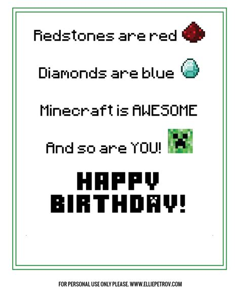 minecraft birthday card template free printable minecraft thank you cards