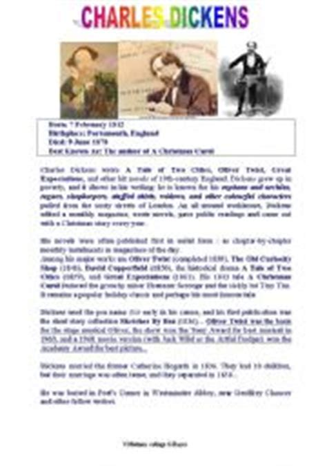 short biography exercises english teaching worksheets charles dickens