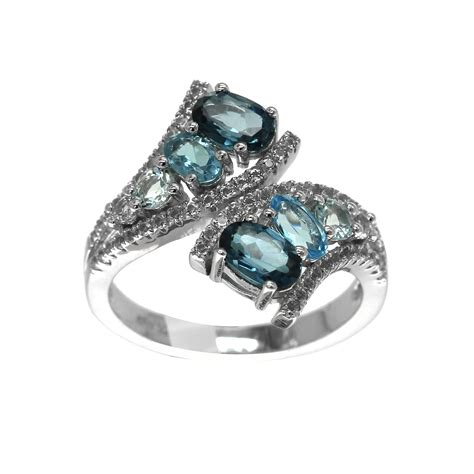 Cincin Baby Blue Topaz Sterling 925 Silver Size 7 1 genuine blue topaz bypass ring in sterling silver size 7 only jewelry rings