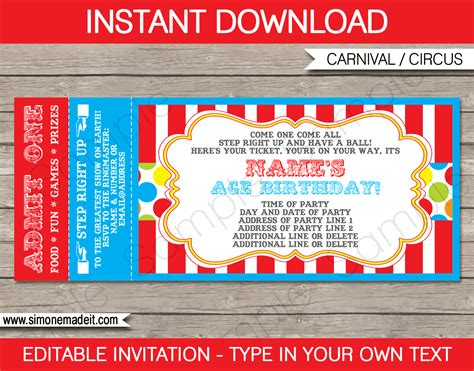 Carnival Tickets Template Free Printable carnival ticket invitation template carnival or circus