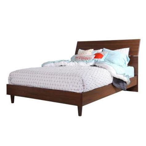 mid century queen bed south shore furniture olly wood mid century laminate