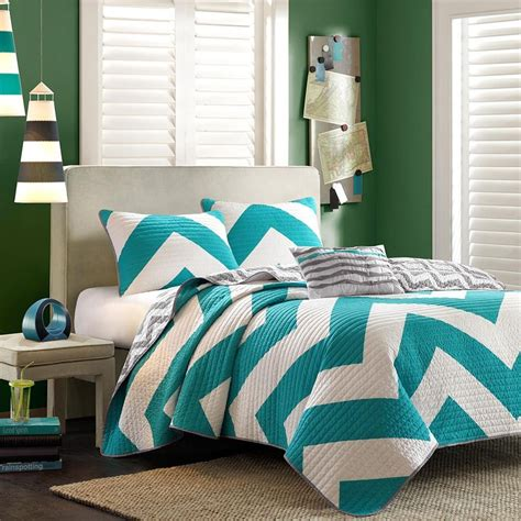 turquoise chevron bedding chevron bedding in turquoise and white panda s house