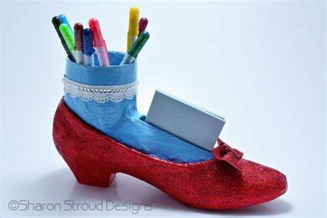 Shoe Desk Accessories Dorothy Wizard Of Oz Inspired Ruby Slipper Altered Shoe Desk Acce