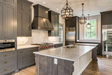 Gray Kitchens With White Cabinets Gray Shaker Cabinets With White Kitchen Island Mediterranean Kitchen