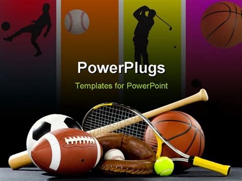 Variety Of Sports Equipment On A Black Background Including An American Football A Soccer Ball A Sports Powerpoint Templates Microsoft