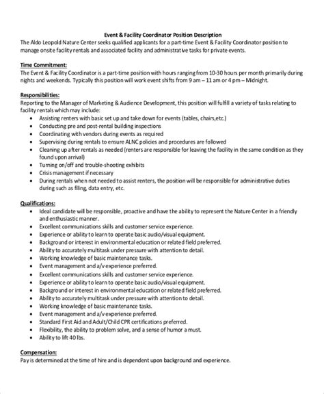 facilities coordinator description template sle event coordinator description 10 exles in pdf