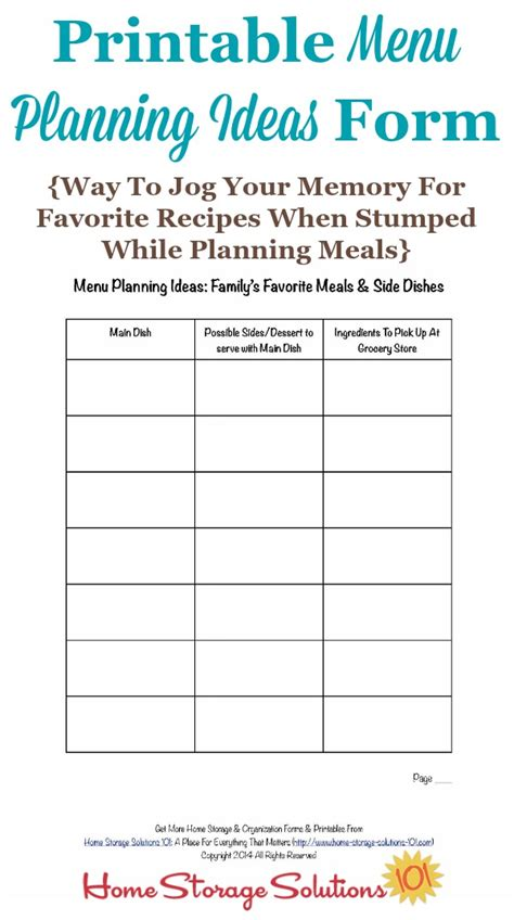 printable meal planning ideas printable menu planning ideas form