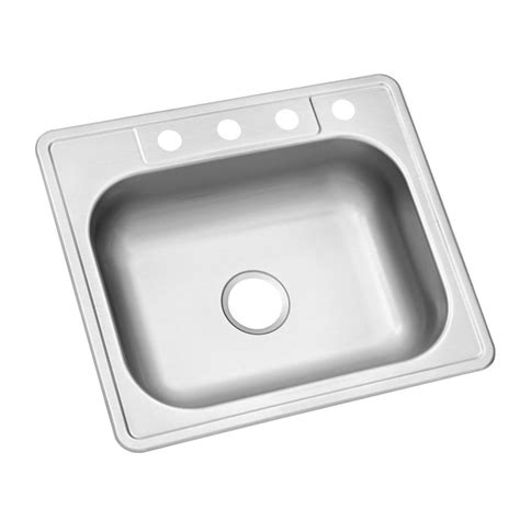 Glacier Bay Kitchen Sinks Glacier Bay Drop In Stainless Steel 25 In 4 Single Bowl Kitchen Sink Hdsb252264 The Home