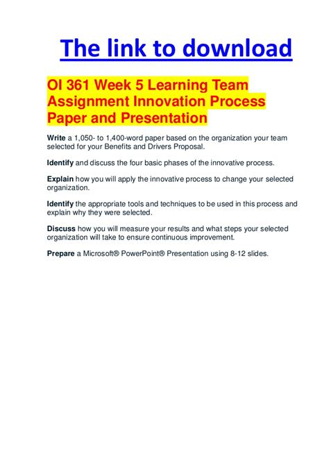 Innovation Mba Ppt by Oi 361 Week 5 Learning Team Assignment Innovation Process