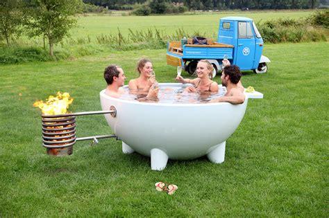 outdoor bathtub wood fired dutchtub mobile wood burning outdoor hot tub design milk