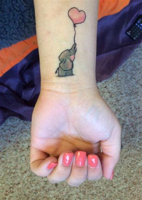 cute animal tattoos black outline baby elephant design for wrist