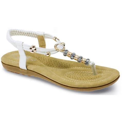 white beaded sandals lunar womens murano white beaded toe post sandals jlh879 wt