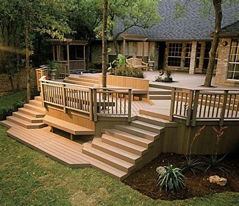 Split Level Front Porch Designs by Wooden Deck Pictures