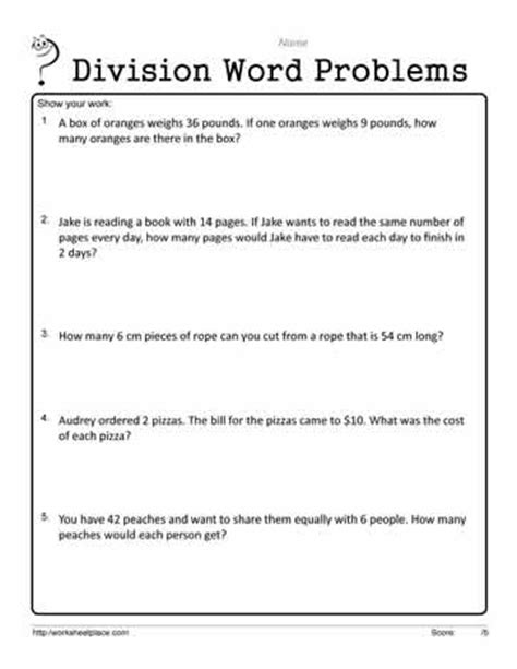Division Word Problems Worksheets by Basic Word Problems Worksheets