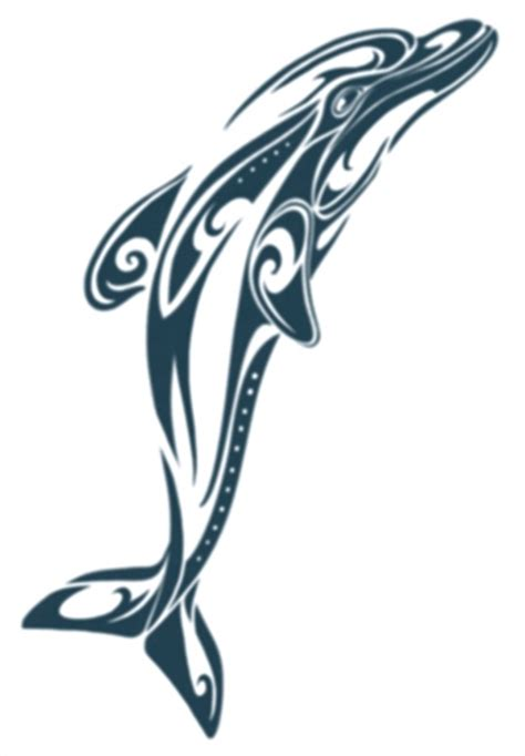 large polynesian tribal dolphin temporary tattoo