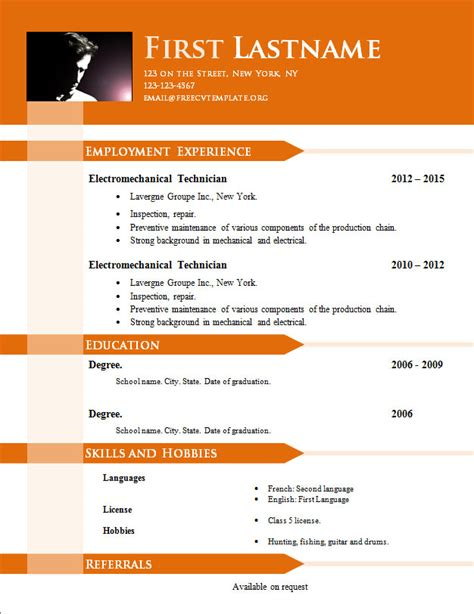 Cv Templates For Free Free Cv Templates 646 To 652 Free Cv Template Dot Org