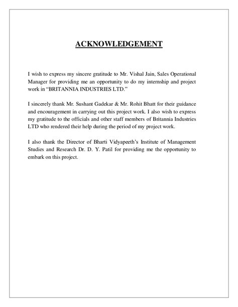Acknowledgement Letter For Manager Executive Summary Exle Template Sle Format Acknowledgement Sle For Internship Report