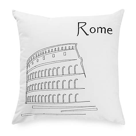 black throw pillows bed bath and beyond passport postcard rome square throw pillow in black white